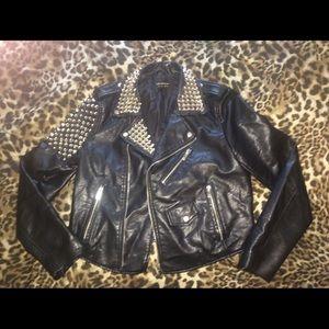 Women large black vegan motorcycle studded  jacket